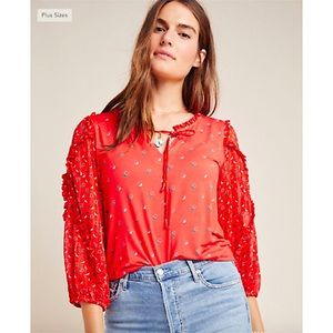 Maeve by Anthropologie Jacquin Peasant Top Orange